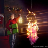 LED Wind Chimes Handmade Dreamcatcher Feather Pendant Dream ...