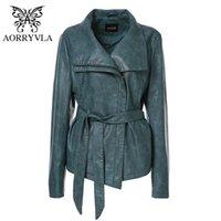 AORRYVLA Новая весна Женщины куртка кожа Плюс размер Полный рукава отложным воротником Короткие молнии Тонкий дамы кожаные куртки 201020