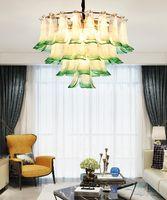 Yaratıcı Tavuskuşu Açık Ekran Cam Avize Işıkları Oturma Odası Yemek Odası Tasarımcısı Kolye Lambaları Dubleks Yapı Yaprak Avize Aydınlatma