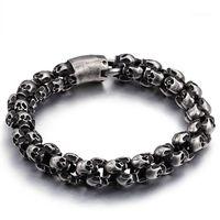 Link, chaîne 12mm Heavy Vintage punk rocher bracelet bracelet bracelet brossé hommes en acier inoxydable gothique matte noir vélo squelette bracelet mâle bijoux1