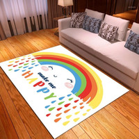 Colorful Large Carpets for Living Room Rainbow Floor Mat Wat...