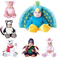 새로운 디자인 소년 크리스마스 할로윈 의상 유아 아기 소녀 rompers jumpsuits 공작 동물 코스프레 유아 의류 201028