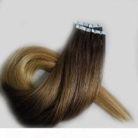 Ruban à cheveux humains Rey Ombre dans les extensions Body Wave 2000PCS Lot # 4 27 Honey Blond ombre Brésilien PU Puce Coiffure Hair Cheveux