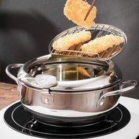 Hohe Qualität 304 Edelstahl Huhn Pommes Frites Fisch und Garnelen-Upgrade Tempura Tieffryer-Topf mit Thermometer und Öl-Tropf-Rack-Deckel