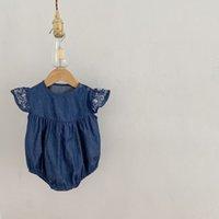 Ins Infant Blume Strampler Sommer Baby Mädchen Baumwolle Denim Gestickte Fliegende Flying Sleeve Overall Nette Neugeborene Beiläufige Onesie Klettern Kleidung C6787