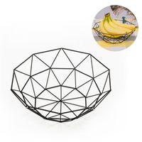 Iron Art Wire Fruit Bowl Geometry Tavolo da pranzo Deposito Piatto Soggiorno Soggiorno Decorazioni Decor Canestri Bardian Home Hollow Out Nero 6 5SX G2