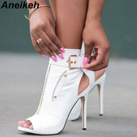 Aneikeh Classic PU Women Ankle Boots Buckle Strap Peep Toe Hollow Out Thin High Heels Shoes Woman Sexy Sandals Boots White Black 201126