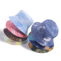Nueva Moda Otoño Invierno Reversible Multicolor Corbata Multicolor Tye Bucket Hats Corduroy Pescador Caps Mujeres Gorros Giros Moda Sombreros