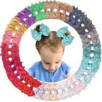 40 шт. 4,5-дюймовые луки волос клипы шифоновые ленты бутик косичка для волос лук аллигаторные зажимы для девочек малышей детей (20 цветов i lj201226