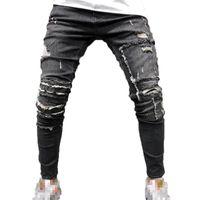 Jeans rapidos grises para hombres Moda otoño delgado cintura elástica jeans envejecido hombre casual flaco cadena lápiz pantalón homme