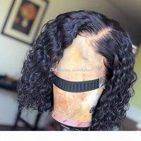 9A parte profunda 13x6 peluca delantera del cordón del pelo con el bebé Wet and Bob Cabello ondulado brasileño de la Virgen corto humano pelucas para mujeres Negro