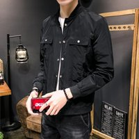 UYUK Autumn New Casual Moda Temperamento cor sólida Magro Single-breasted Collar Jacket de Homens Hombre Clothes