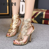 NIUFUNI Summer Metal Wings Hollow Gladiator Sandals Women Sexy High Heels Open Toe Pumps Female Fashion Shoes Woman