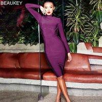 Beaokey Uzun Kollu Diz Boyu En Kaliteli Bandaj Elbise Ofis Lady Bodycon Elbise Renk Siyah Şarap Kırmızı Mor Artı Boyutu XL1