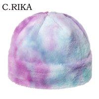 Otoño Invierno la piel de imitación del arco iris multicolor del teñido anudado de Skullies Caps Hip Hop Moda caliente grueso de la gorrita tejida de las mujeres niñas Gorros