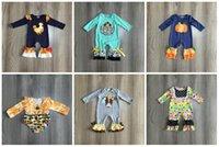 Girlymax otoño / invierno de los bebés de los niños de la ropa de moda infantil volantes calabaza chica girasol mameluco del niño pañal encaje de algodón