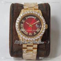 2021 TWF DATE-DATE 40 228348 ETA A2836 A2836 Automatique Mens Montre 904L Acier YG Diamonds Bezel Bracelet Black Red Dial Best Edition Puretime E5