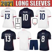2021 남성 + 키즈 아이 꼬마 아이들 Bradley Pulisic Lloyd 팬 버전 사용자 정의 축구 유니폼 17 히스 8 Ertz 13 Morgan 15 Rapinoe 축구 셔츠