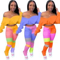 Kadınlar 4XL için Seksi Kapalı Omuz Eşofman Lounge aşınma Renk Patchwork Crop Top + Yığın Tozluklar BODYCON İki Adet Set Kıyafet