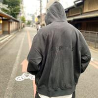 Herren Raglan Full-Zip-Kapuzenshirt mit Kapuze 3D-Silikon-Logo-Fleece-Reißverschluss Hoodie lässig übergroße Sweatshirt Hip Hop Streetwear
