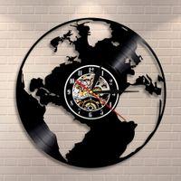 Save the Earth Mappa del mondo dell'orologio della casa della parete della decorazione della parete Globe Map regalo Ecofriendly Per gli insegnanti Earth Day Vinyl Record Wall Clock