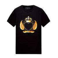 망 코른 짧은 소매 티셔츠 라인 석 디자인 - Crewneck 풀오버 탑스 슬림 피트 캐주얼 티