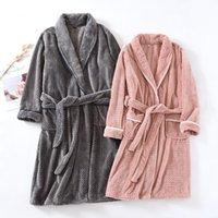 Masculina Sleepwear Canção Julho Japonesa Quimono Casal Inverno Robe Veludo Grosso Pijamas Quentes Vestes Flanela Mulher Nightgown Homewear