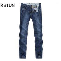 Erkek Kot 2021 Yaz Denim Pantolon Ince Düz Elastik Yumuşak Mavi Düzenli Fit Eğlence Uzun Pantolon Jean Hombre1