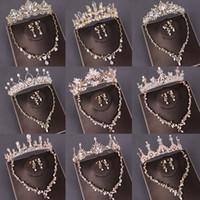 Moda Joyería nupcial Conjuntos Croquines de boda Collar con pendientes Pearl Crystal Tiara y coronas Adornos para el cabello Accesorios para mujer
