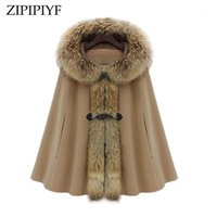 Zipipiyf 2017Winter Coat Women Girl Faux Fur Shawl Wool Hooled Poncho Batwing Cape Coat Chaqueta Invierno Capa Poncho Creavestabreabre1
