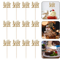 مرحبا 2021 كعكة الجوف كعكة توبر أعلام 12 قطعة / الحزمة السنة الجديدة حزب كعكة الإدراج بطاقة إدراج الخبز كعكة ديكورات vtky2130