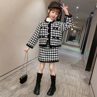 Crianças inverno bebê menina roupas saia de lã espessa cardigan xadrez casaco + saias dois peça meninas roupas moda kids suitx1019