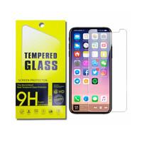 Protetor de tela para iPhone 12 11 Pro Max XS Max XR Vidro temperado para iphone 7 8 Plus LG Stylo 5 Moto E6 Protetor 0.33mm com caixa de papel