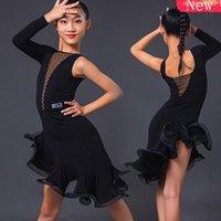 Студенческая одежда 2021 Одного рукава Латинское танцевальное платье для девочек Черный сексуальный рыбий юбка Детская конкуренция Одежда DN6706