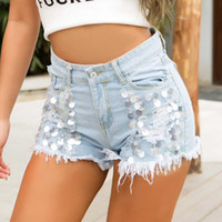 9103 # New Estate Jeans Shorts Pantaloni Hot Pants Ultra Breve Nightclub Donne Sexy Sexy High Waist Nails Piercing