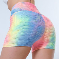 Women High Waist Shorts Summer Tie- dye Pink Gradient Print G...