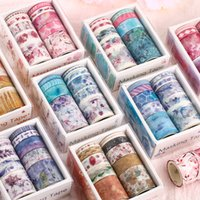 10 pieces pack of fresh literary style paper tape DIY decoration scrapbook planner masking tape tape label sticker stationery
