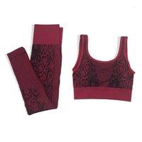 Grandwish Snake Yoga Anzug Nahtlose Sportkleidung Outfit Hohe Taille Leggings, Atmungsaktiv, Feuchtigkeitsdocht, Fitness Set Weiblich, ZF7311