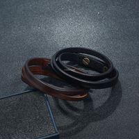 متعدد الطبقات الجلود سوار أسود براون الرجعية أساور بسيطة الإسورة الكفة النساء الرجال الأزياء والمجوهرات وستراندي هدية