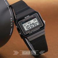 Montre-bracelet SKMEI Retro LED Montre numérique Mode Horloge électronique Square Steel Steel Bande Sports Montres1