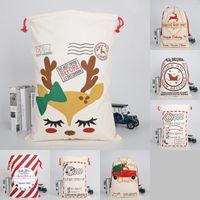 2020 50 * 70cm Tuval Hediyeler Çanta İpli Şeker Santa Sacks Elk Merry Christmas Süsleri Parti Ağır Kılıfı 10 9BY G2