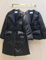 Veste d'hiver avec taille réglable pour femmes Down Parkas Long manteau Lady Slim Vestes avec lettre Budge Sequins Withear Soustine Manteaux chauds