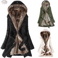 2020 Sıcak Bayanlar Kürk Astar Coat Bayan Kış Sıcak Kalın Uzun Ceket Kapşonlu Parka Sonbahar Kazanan Kadın giyim 18Oct22