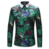 Nouveau Hommes Printemps Hawaï Chemises papillon Rétro floral 3D Imprimé Casual classique à manches longues Homme Robe Tops Shirt 4XL