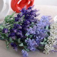 Декоративные цветы венки 10 головы романтические плавицы лаванды шелкография искусственный фиолетовый букет пластиковый поддельный цветок белый для домашней свадьбы D