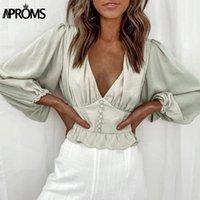 Рубашки женские блузки Arroms Elegant Deep V-образным вырезом оборками обрезанные блузка женские женские кнопки фонарика тонкие рубашки женские праздник мода