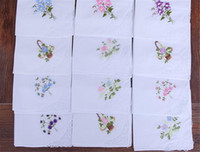 흰색 결혼식 호의면 손수건 소녀 냅킨 수 놓은 여성 냅킨 수 놓은 나비 레이스 꽃 손수건 홈 식기