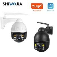 كاميرات Shiwojia Tuya 1080P 2MP Wifi PTZ قبة كاميرا في الهواء الطلق اللاسلكية 4X التكبير الرقمية IP قذيفة معدنية مراقبة للماء
