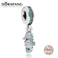 2021 new 100% 925 Sterling Silver Tropical Seahorse Dangle Charm Teal CZ & Turquoise Enamel Pendant Bead Bracelet DIY