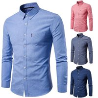 Men Solid Color Turn Down Collar Long Sleeve Shirt Slim Button Pocket Work Top business men casual shirts tops